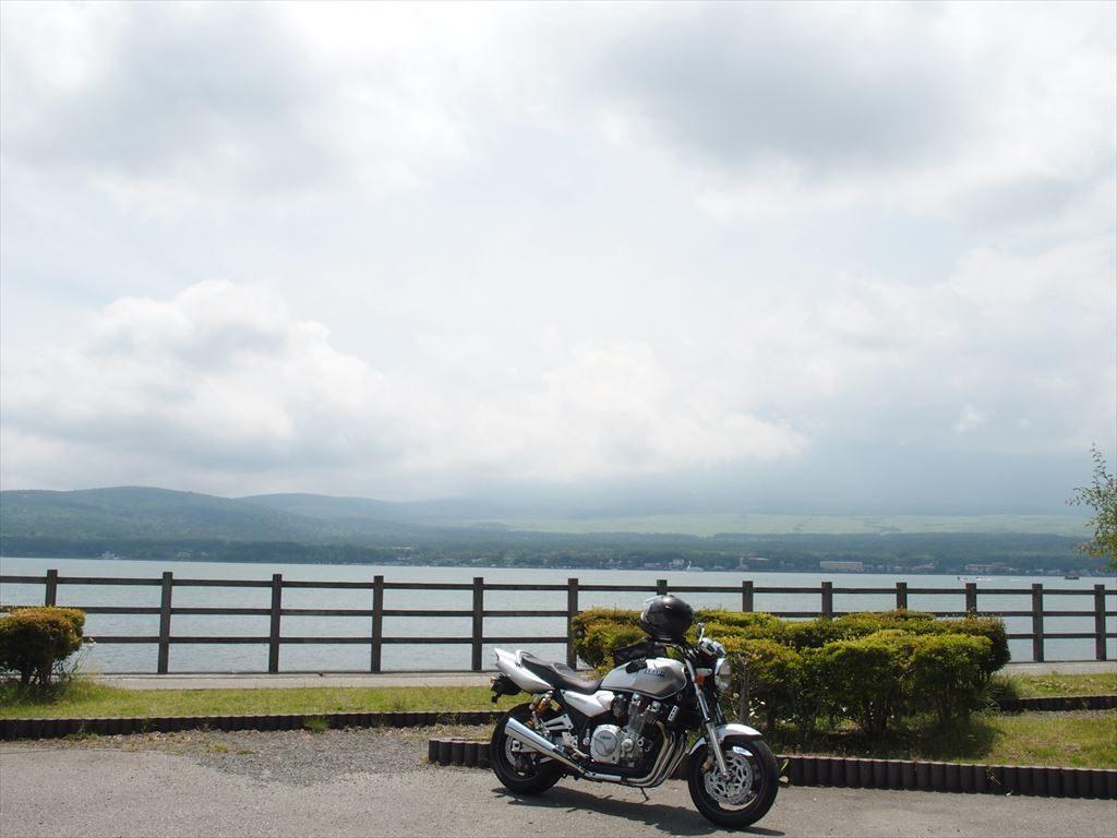 曇天の富士山と山中湖(長池親水公園)